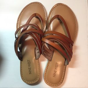 Nine West Tan Leather Strap Sandals
